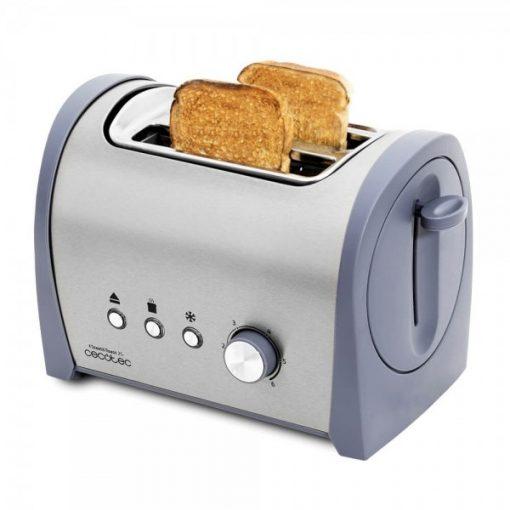 Tostadora de pan con capacidad para dos tostadas. Incluye soporte para panecillos. 800 W de potencia y 6 posiciones de tostado,